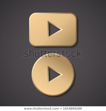 Stockfoto: Spelen · nu · gouden · vector · icon · knop