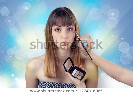 Machiaj paleta perie modă fete Imagine de stoc © lunamarina