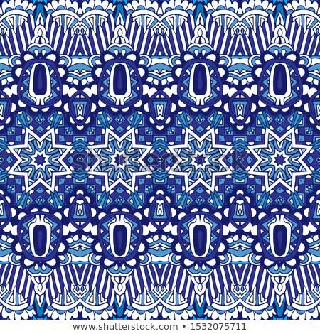 seamless pattern with blue christmas snowflakes on white backgro stock photo © bluelela
