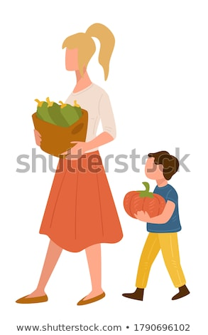 Famille petite fille acheter citrouille supermarché alimentaire Photo stock © Paha_L