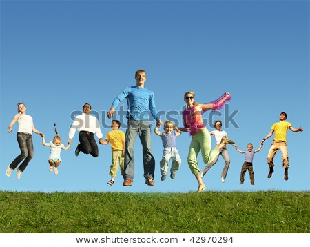 many jumping families on the grass collage stock photo © paha_l