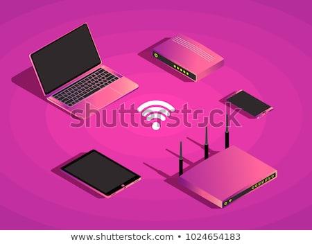 3g знак фиолетовый вектора икона дизайна Сток-фото © rizwanali3d