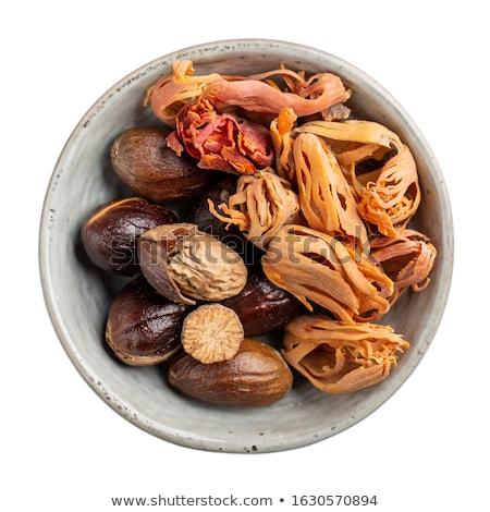 Nootmuskaat drogen voedsel steeg zon geneeskunde Stockfoto © tang90246