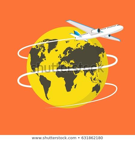 Vliegtuig vliegen rond aarde vector icon Stockfoto © djdarkflower