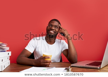 Yakışıklı siyah adam düşünme genç gündelik Stok fotoğraf © zdenkam