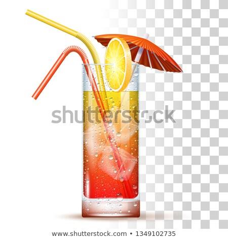 Tequila napfelkelte valósághű koktél üveg citromszelet Stock fotó © netkov1
