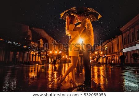 affectueux · couple · pluie · parapluie · turquoise · femme - photo stock © master1305