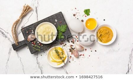 Casero mayonesa tazón blanco crema plato Foto stock © Digifoodstock