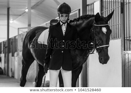 Foto stock: Horse And Fashion Model Retro Style