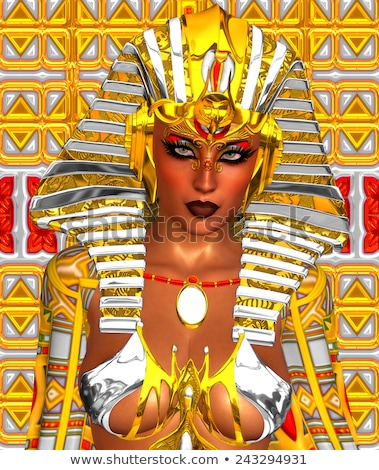 Stock photo: Beautiful woman like Egyptian Queen Cleopatra on golden background