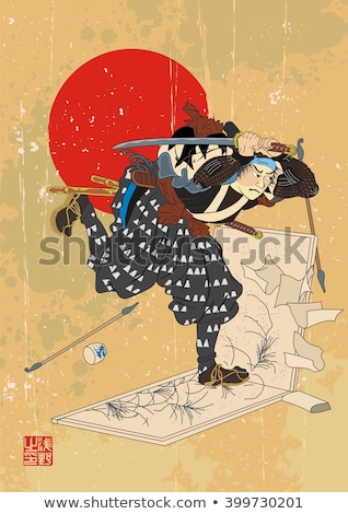Ancient engraving drawn by hand 'Samurai breaks the picture' redraw in the vector Stock photo © Romasan