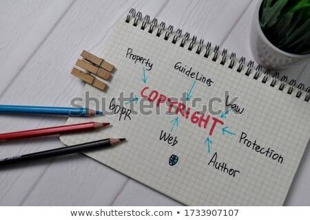 Szerzői jog fa asztal szó iroda gyermek oktatás Stock fotó © fuzzbones0