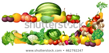 Fresh vegetables and fruits on shelves Stock photo © bluering