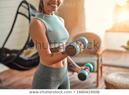 изображение спортивная одежда гантели изолированный Сток-фото © deandrobot