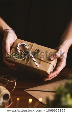 Artístico rústico pano de saco decorado natal dom Foto stock © ozgur