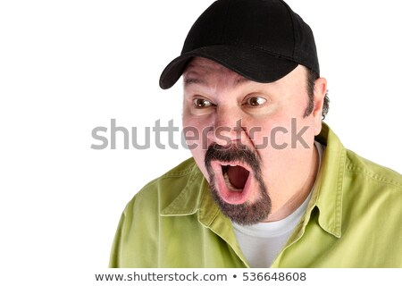 Horrified man in baseball cap shouting Stock photo © ozgur