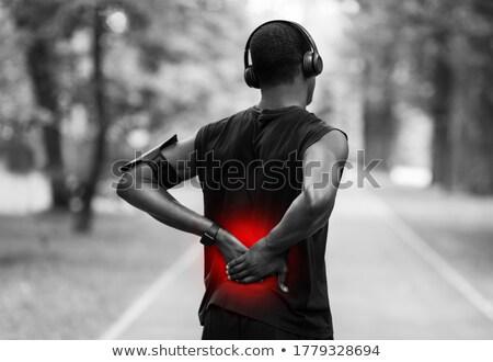 Hátulnézet fotó fiatal afrikai sportoló pózol Stock fotó © deandrobot