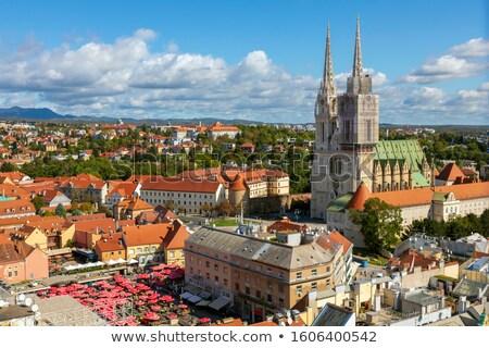 Panorámica vista ciudad mercado Zagreb Croacia Foto stock © smuki