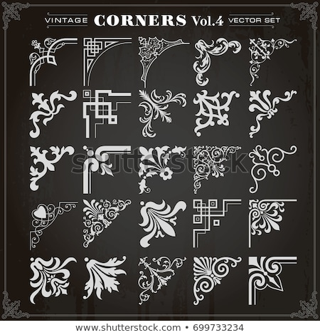 Decorative calligraphic corners in vintage style - vector set Stock photo © blue-pen