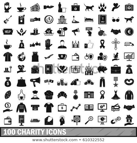 100 geneeskunde eenvoudige stijl witte Stockfoto © ylivdesign