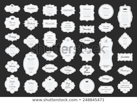 Ingesteld vintage frames zwarte witte vier Stockfoto © ElaK