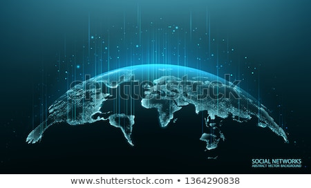 digital technology earth world map on blue background with dots  Stock photo © SArts
