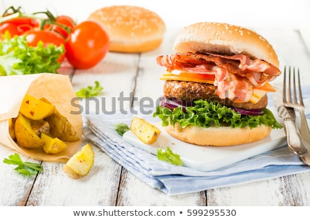 Stock photo: vegetable and cheese patties with potato wedges