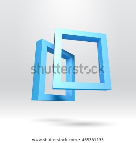 Stock fotó: Kettő · kék · négyszögletes · 3D · keret · absztrakt