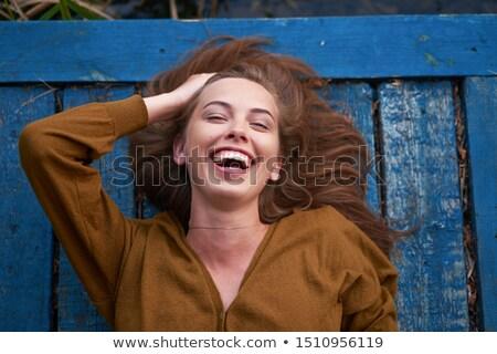 Portré barna hajú kéjes hölgy nő meztelen Stock fotó © konradbak