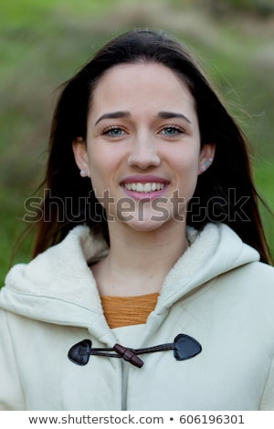 portrait attractive brunette young girl with blue eyes Stock photo © fotoduki