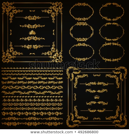 Stock photo: Golden calligraphic frames and borders with corner elements - vector set