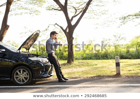 Woman with broken car on country road talking on mobile Stock photo © stevanovicigor