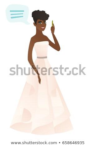 Jonge verloofde tekstballon vol toespraak uit Stockfoto © RAStudio