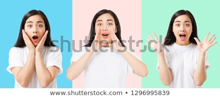 Stockfoto: Asian · meisje · blij · gezicht · illustratie · kinderen · gelukkig
