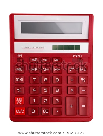 Foto stock: The Red Calculator With A Keys On A White Background