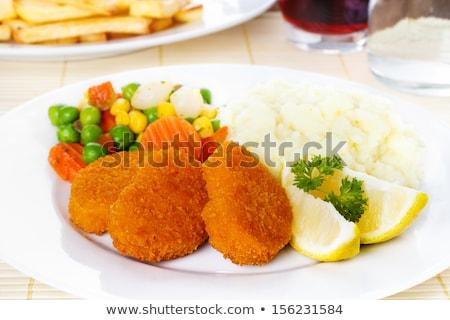 Krumpli tyúk tányér zöld hely hús Stock fotó © Digifoodstock