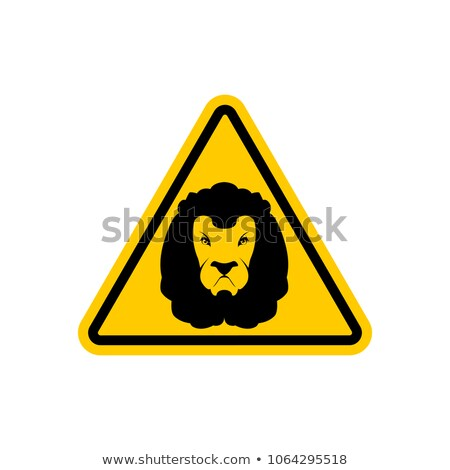 Attention lion jaune triangle panneau routier prudence Photo stock © popaukropa