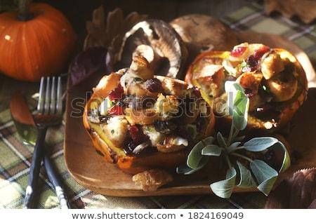 Oranje pompoen salie witte blad najaar Stockfoto © Digifoodstock