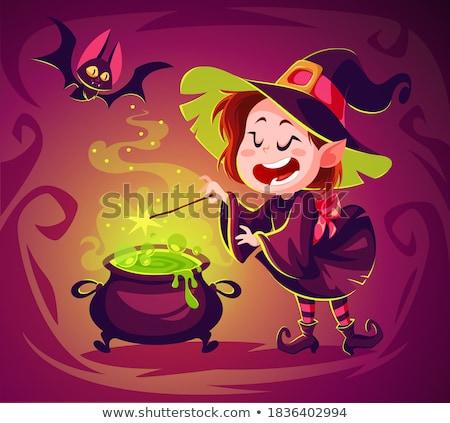 Witch and Magic Wand Halloween Cartoon Character Stock photo © Krisdog
