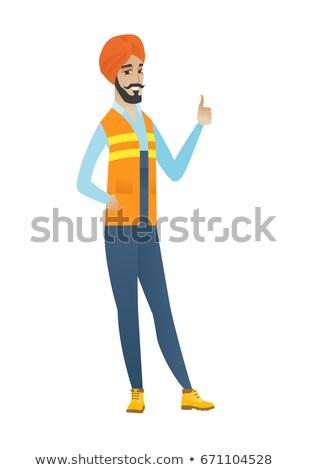 строителя · азиатских · шлема · большой · палец · руки - Сток-фото © rastudio