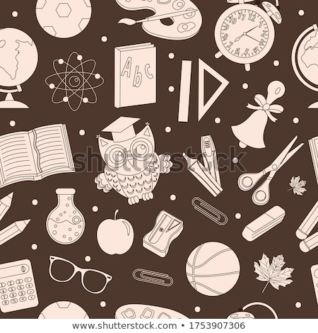 Stock photo: Back to school seamless pattern, hand drawing, doodle style. Stationery endless background. Educatio