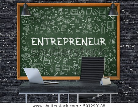 entrepreneur on chalkboard with doodle icons 3d stock photo © tashatuvango
