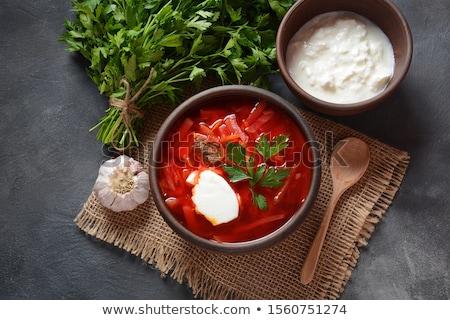 Ukrainian National Traditional Beet Soup Borscht Stock photo © zhekos