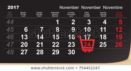 Black Friday shopping trolley reminder. 24 November 2017 calendar day of great purchases Stock photo © orensila