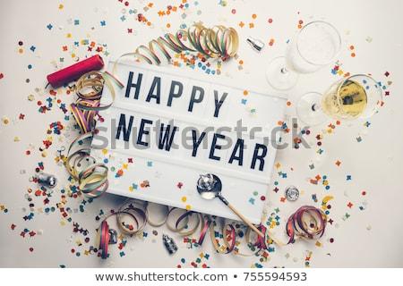 слов с Новым годом синий красный изолированный белый Сток-фото © Oakozhan