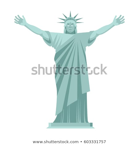 Statue of Liberty is cheerful. Happy landmark  America. Sculptur Stock photo © popaukropa