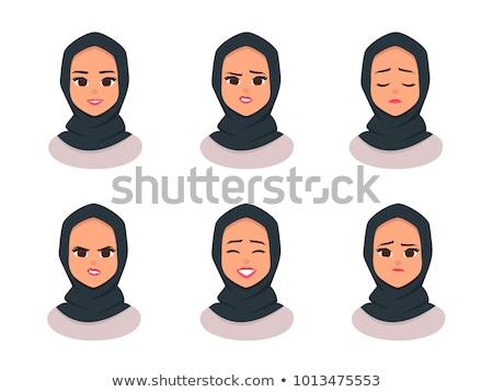 Vektor hidzsáb stílus gyönyörű arab muszlim Stock fotó © NikoDzhi
