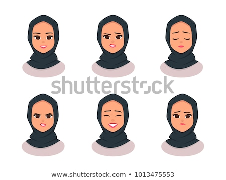 vector   hijab style beautiful arabic muslim woman isolated on a stock photo © nikodzhi