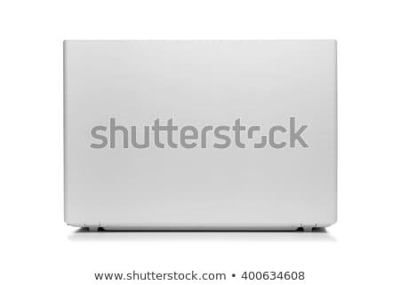 Otwarte czarny laptop powrót odizolowany notebooka Zdjęcia stock © popaukropa