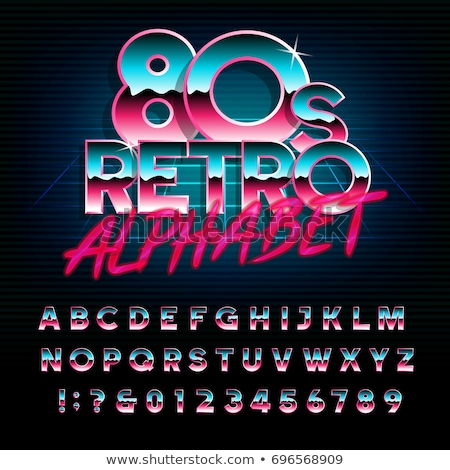 Retro 80s Alphabet and Numbers Stock photo © timurock